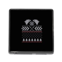 Winter Is Coming Game Of Thrones Ugly Christmas Black Background Memory Card Reader (square)