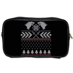 Winter Is Coming Game Of Thrones Ugly Christmas Black Background Toiletries Bags 2 Side
