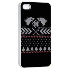 Winter Is Coming Game Of Thrones Ugly Christmas Black Background Apple iPhone 4/4s Seamless Case (White)