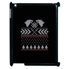 Winter Is Coming Game Of Thrones Ugly Christmas Black Background Apple Ipad 2 Case (black)