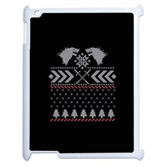 Winter Is Coming Game Of Thrones Ugly Christmas Black Background Apple Ipad 2 Case (white)