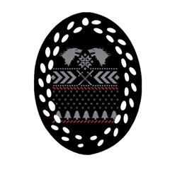 Winter Is Coming Game Of Thrones Ugly Christmas Black Background Oval Filigree Ornament (Two Sides)