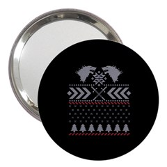 Winter Is Coming Game Of Thrones Ugly Christmas Black Background 3  Handbag Mirrors