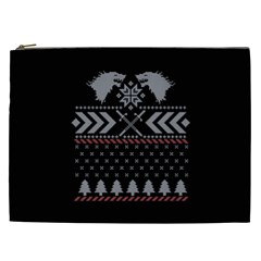 Winter Is Coming Game Of Thrones Ugly Christmas Black Background Cosmetic Bag (XXL)