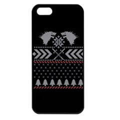 Winter Is Coming Game Of Thrones Ugly Christmas Black Background Apple iPhone 5 Seamless Case (Black)