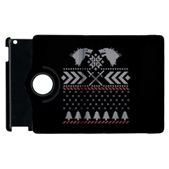 Winter Is Coming Game Of Thrones Ugly Christmas Black Background Apple Ipad 3/4 Flip 360 Case