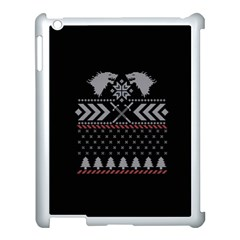 Winter Is Coming Game Of Thrones Ugly Christmas Black Background Apple Ipad 3/4 Case (white)