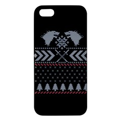 Winter Is Coming Game Of Thrones Ugly Christmas Black Background Apple Iphone 5 Premium Hardshell Case