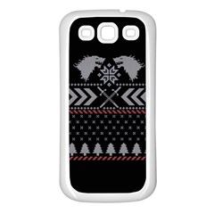 Winter Is Coming Game Of Thrones Ugly Christmas Black Background Samsung Galaxy S3 Back Case (white)