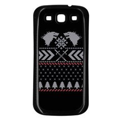 Winter Is Coming Game Of Thrones Ugly Christmas Black Background Samsung Galaxy S3 Back Case (Black)