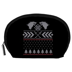 Winter Is Coming Game Of Thrones Ugly Christmas Black Background Accessory Pouches (Large)