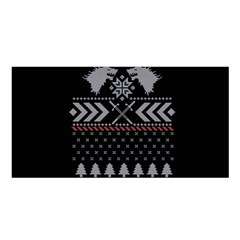 Winter Is Coming Game Of Thrones Ugly Christmas Black Background Satin Shawl