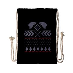 Winter Is Coming Game Of Thrones Ugly Christmas Black Background Drawstring Bag (small)
