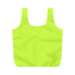 Neon Color - Light Brilliant Lime Green Full Print Recycle Bags (M)