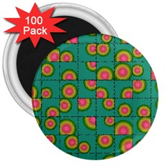 Tiled Circular Gradients 3  Magnets (100 pack)