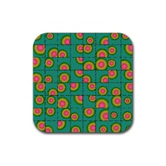 Tiled Circular Gradients Rubber Square Coaster (4 pack)