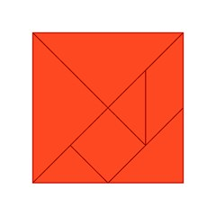 Neon Color - Light Brilliant Scarlet Acrylic Tangram Puzzle (4  x 4 )