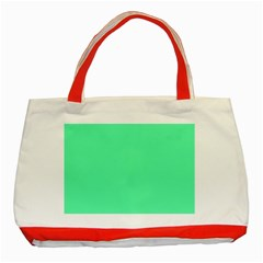 Neon Color - Light Brilliant Spring Green Classic Tote Bag (Red)