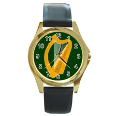 Flag of Leinster Round Gold Metal Watch