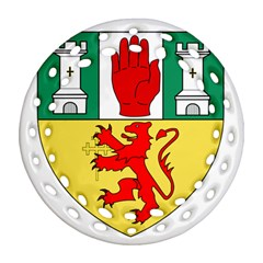County Antrim Coat of Arms Round Filigree Ornament (Two Sides)