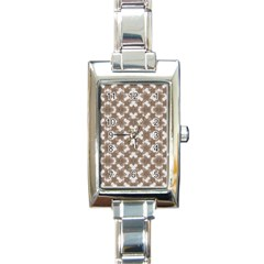 Stylized Leaves Floral Collage Rectangle Italian Charm Watch