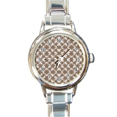 Stylized Leaves Floral Collage Round Italian Charm Watch