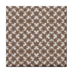 Stylized Leaves Floral Collage Tile Coasters