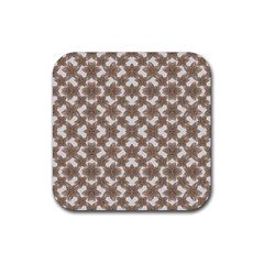 Stylized Leaves Floral Collage Rubber Square Coaster (4 pack)