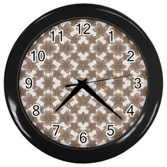 Stylized Leaves Floral Collage Wall Clocks (Black)