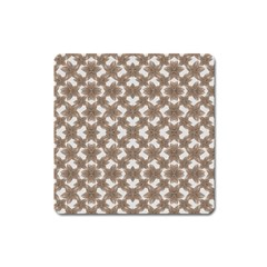 Stylized Leaves Floral Collage Square Magnet