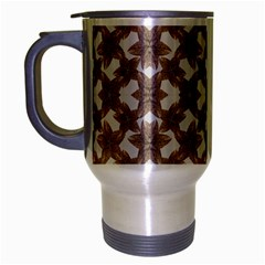 Stylized Leaves Floral Collage Travel Mug (Silver Gray)