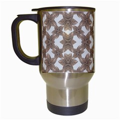 Stylized Leaves Floral Collage Travel Mugs (White)