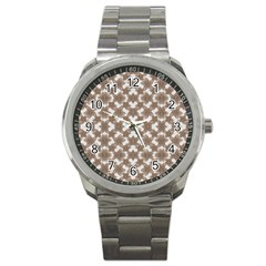 Stylized Leaves Floral Collage Sport Metal Watch