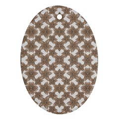 Stylized Leaves Floral Collage Oval Ornament (Two Sides)
