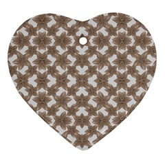 Stylized Leaves Floral Collage Heart Ornament (Two Sides)