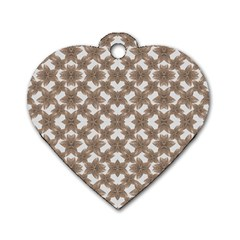Stylized Leaves Floral Collage Dog Tag Heart (One Side)