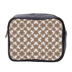 Stylized Leaves Floral Collage Mini Toiletries Bag 2-Side