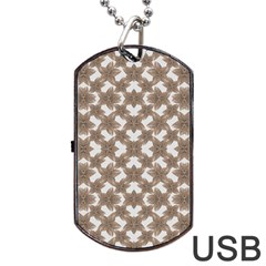 Stylized Leaves Floral Collage Dog Tag USB Flash (One Side)