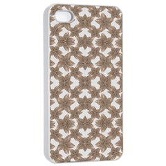 Stylized Leaves Floral Collage Apple iPhone 4/4s Seamless Case (White)