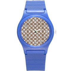 Stylized Leaves Floral Collage Round Plastic Sport Watch (S)
