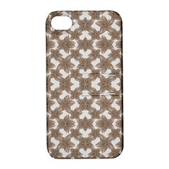 Stylized Leaves Floral Collage Apple iPhone 4/4S Hardshell Case with Stand