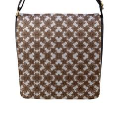 Stylized Leaves Floral Collage Flap Messenger Bag (L)