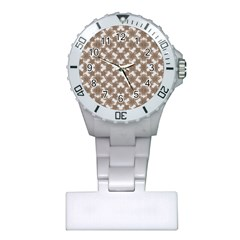 Stylized Leaves Floral Collage Plastic Nurses Watch