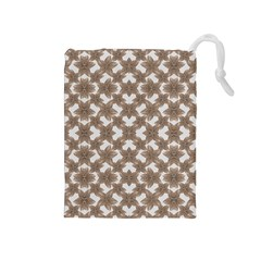 Stylized Leaves Floral Collage Drawstring Pouches (Medium)