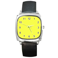 Neon Color - Light Brilliant Yellow Square Metal Watch