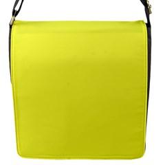 Neon Color - Light Brilliant Yellow Flap Messenger Bag (S)