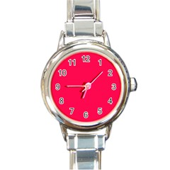Neon Color - Luminous Vivid Crimson Round Italian Charm Watch