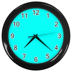 Neon Color - Luminous Vivid Cyan Wall Clocks (Black)