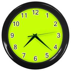 Neon Color - Luminous Vivid Lime Green Wall Clocks (Black)