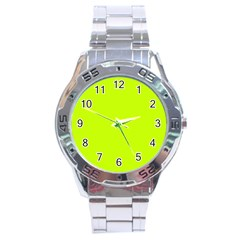 Neon Color - Luminous Vivid Lime Green Stainless Steel Analogue Watch